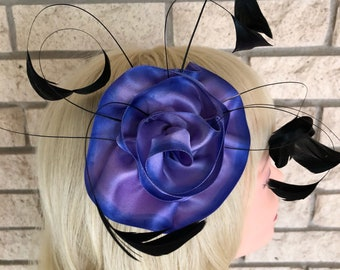Ready to be shipped purple and blue ombre feather fascinator,taissa lada,black burnt coque feathers,bridal head piece,pin up hair accessory