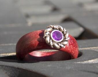 Woman's Amethyst stone on PurpleHeart wood ring size 7