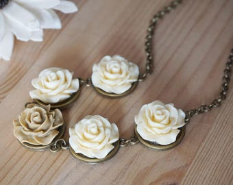Tan Flower Bib Necklace Cream Rose Necklace Rose Resin Necklace Nude Jewelry Rustic Chic Necklace Flower Lover Jewelry Nude Necklace for her