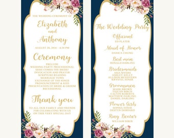 Printable wedding program, Wedding program, Navy wedding program, Blush wedding program, Gold wedding program, Floral wedding program, Bree