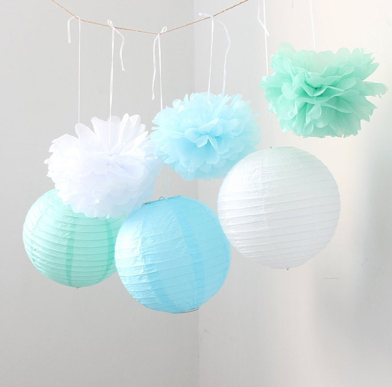 6pcs 27cm Christmas Tree Honeycombs Tissue Paper Trees: Set Of 9 Mixed Mint Green Blue White Tissue Paper Pom Poms And