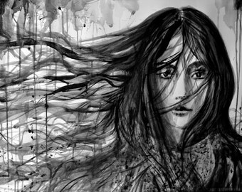 Watercolor painting, Fashion inspired girl, Wind and Rain, FINE ART PRINT, sumi-e ink painting, contemporary art, Wall art, Alex Solodov