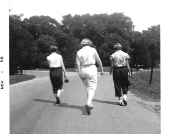 """Vintage Snapshot """"Making Strides"""" Three Women Walk Purposefully Down The Street One Of Them Has An Itch Found Vernacular Photo"""