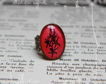 Hand painted * cabochon ring adjustable vintage with original illustration painted by hand * strung stars *.