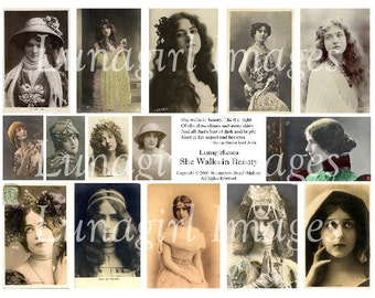 She Walks in Beauty digital collage sheet VICTORIAN EDWARDIAN WOMEN vintage photos diva actresses, Byron poem, altered art ephemera Download