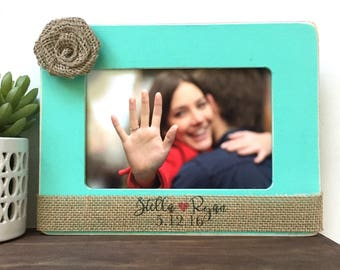 Personalized Couple Picture Frame Gift // Personalized Gift // Wedding // Engaged // Date