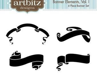 Banner Elements, Vol. I, No. 17003 Scrapbooking Clip Art Kit, 300 dpi .jpg and .png, Instant Download!