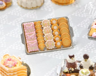 Presentation of Butter Cookies on Metal Baking Tray - Miniature Food in 12th Scale for Dollhouse