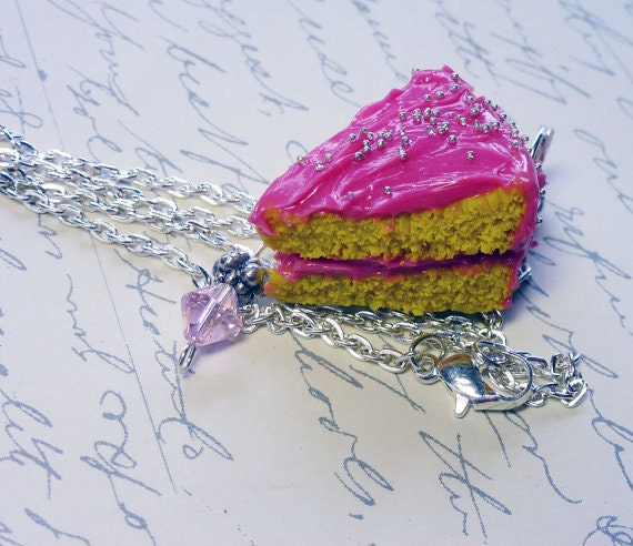 Pink Vanilla Cake Slice Scented Necklace