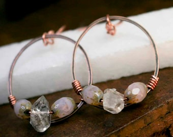 Round Copper Dangle Hoops with Herkimer Diamand Quartz Crystal Stones and Baby Light Pink and Gold Speckled Glass Beads Wire Wrapped Copper