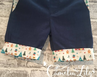 Boy's longer length shorts with caravan design pockets and cuffs - age 2