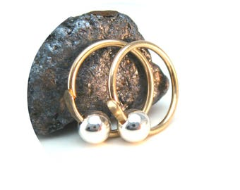 Silver and Gold Cartilage Hoops, Mixed Metal Hoops, Gold Sleeper Hoops with Silver Bead
