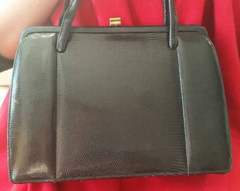 50's black lizard skin leather bag