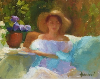 "plein air, outdoor painting, sunlight, female, woman, garden,"" Leah in the Garden"", original oil painting, by Sherri Aldawood, 6'x8"""