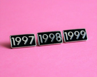 1997 1998 1999 Year Pin Small Soft Enamel, black and silver // .75 inch, anniversary, birthday gift, lapel pin