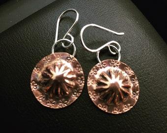Concho Copper Earrings Handmade Handcut Western Style Mixed Metal Dangle