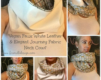She Was Ready For Anything Vegan Faux White Leather & Journey Elegant Neck Cowl/Scarf