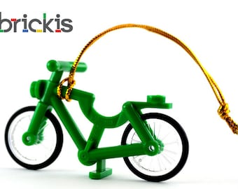 LEGO® bicycle green ornament for Christmas for the Xmas tree made with LEGO® bricks