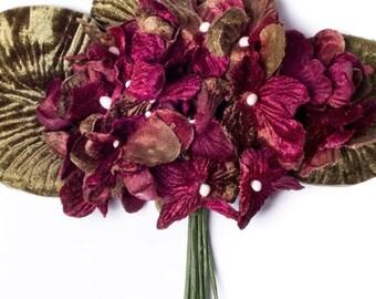 burgundy velvet hydrangea posy. millinery flowers. vintage style velvet posy. millinery couture.