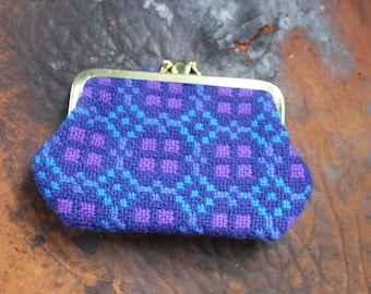 Vintage Welsh tapestry coin purse with double clasp, blue wool coin purse, made in Wales, Wool tapestry change purse, Blue and Purple wallet