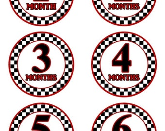 Baby Month to Month Stickers, Monthly Birthday Stickers for Baby, Race Car Photo Prop Birthday Stickers, Chevron and Blue