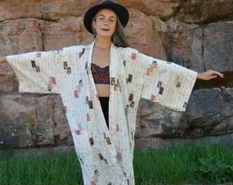 Vintage Chinese Calligraphy Kimono Jacket Robe Duster