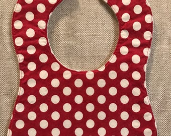 Baby Bib in Riley Blake Red and White polka dots