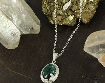 Emerald necklace - Sterling silver necklace - May Birthstone Necklace - Green necklace -  Handmade