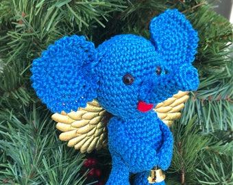 Crochet amigurumi blue elephant angel miniature elephant angel plushes Christmas angel children toy decoration angel ornament holiday decor