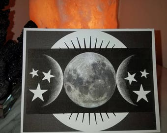Celestial Moon Phases and Stars Greeting Card