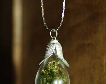 Forest moss pendant, terrarium necklace