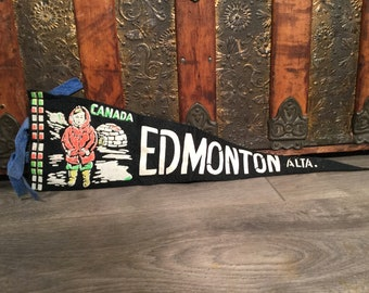 Vintage Edmonton Alberta  Canada Pennant