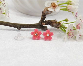 Pink Acrylic Etched Sakura Cherry Blossom Stud Earring with Swarovski Crystal