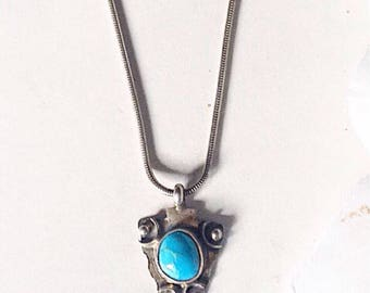 Turquoise Handcrafted Pendant, Silver Turquoise Pendant, Sterling  Silver Pendant, Vintage Turquoise Necklace, Silver Turquoise Necklace,