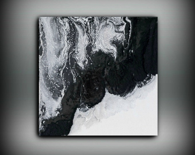 Art painting acrylic painting abstract art small wall art black and white home decor small canvas