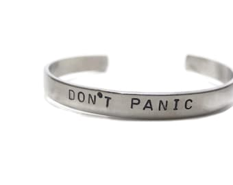 Don't Panic Customizable Hand Stamped Cuff Bracelet