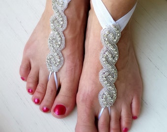 Bella - Barefoot Sandals - Foot Jewelry - Rhinestones - Beach Wedding - Bottomless Sandals - Brides Bridesmaids - Reception Shoes