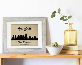 New York City Skyline Burlap Print, Personalized Wedding Gift for Couple, NYC Skyline, Engagement Gift, Anniversary Gift, Choose Your City