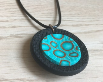Black and aqua 3D polymer clay pendant / necklace, handmade ( On Sale)