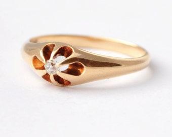 Antique Diamond Engagement Ring: 14K Gold, Size 7
