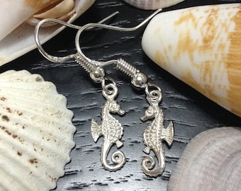 Hippocampus Hook Earrings, 925 Sterling Silver
