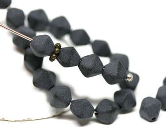 Matte Black bicone beads Black Czech glass pressed beads 6mm bicone - 30Pc - 0621