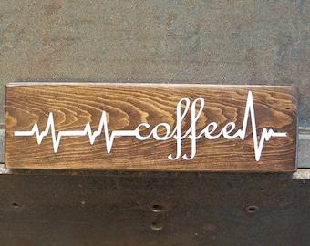 Coffee Heartbeat   Coffee Sign   Wood Signs   Coffee Bar Decor   Home Decor   Rustic Sign   Coffee Lover Gift   Kitchen Decor   Coffee Decor