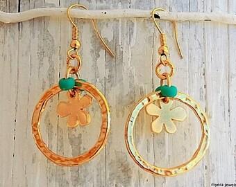 Golden Flower Earrings, Flower Drop Earrings, Flower Dangle Earrings, Small Golden Earrings, Statement Earrings, Gold Flower Jewelry