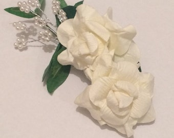 Flower barrette, Boho Bride hair clip, Bridal barrette, Bridal hair accessory, wedding hair clip item 325 by CraftyLittleMonkeyGB