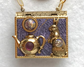 Book Necklace-Rabbit jewelry-Teapot Jewelry-Purple-gold-miniature book-vintage style-pin