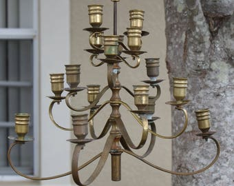 Vintage Brass Chandelier with Candlestick Holders Made in Hong Kong