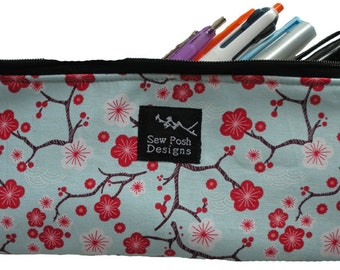Sakura Cherry Blossoms Blue Red White Japanese Oriental Fabric Pencil Case Makeup Cosmetic Small Zipper Pouch Washable