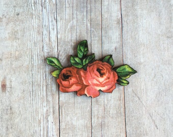 Rose Brooch Flower Jewelry Gift For Gardener Botanical Accessory Cottage Chic