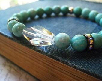 Amazonite Bracelet, mint green, turquoise green, Swarovski crystal, semi precious beads, candies64, stretch bracelet, large crystal
